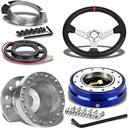 350MM 3 Silver Tri-Spoke//Red Stripe Steering Wheel+Silver 6-Hole Hub Adapter+Blue Quick Release For 92-95 Integra DC2//Civic EG EH EJ