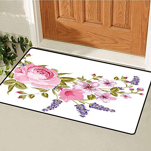 (GloriaJohnson Lavender Welcome Door mat Bridal Style Garland of Rose Sakura and Lavender Vintage Artistic Bouquet Flora Door mat is odorless and Durable W23.6 x L35.4 Inch Multicolor)
