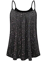 2be15f77558d89 Women Loose Casual Summer Pleated Flowy Sleeveless Camisole Tank Tops