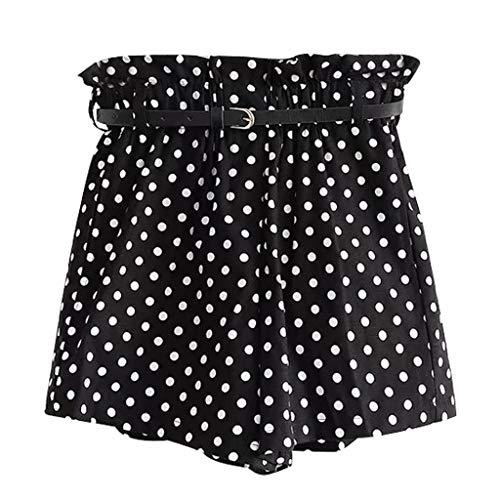 Dot Velour Pant - Haozin Women's Dot Print Short Pants Paper Bag Waist High Waist Culottes Beach Summer Shorts(M,Black)