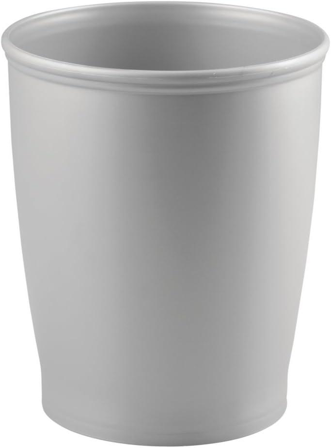 iDesign Kent Plastic Wastebasket, Trash Can for Bathroom, Kitchen, Office, Bedroom, 8.25