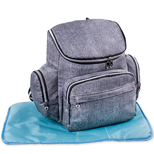 Baby Diaper Bag Backpack w/ Stroller Straps & Changing Pad, Gray
