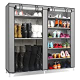 TXT&BAZ 27-Pairs Portable Boot Rack Double Row Shoe Rack with Nonwoven Fabric (7-Tiers Silver Grey)