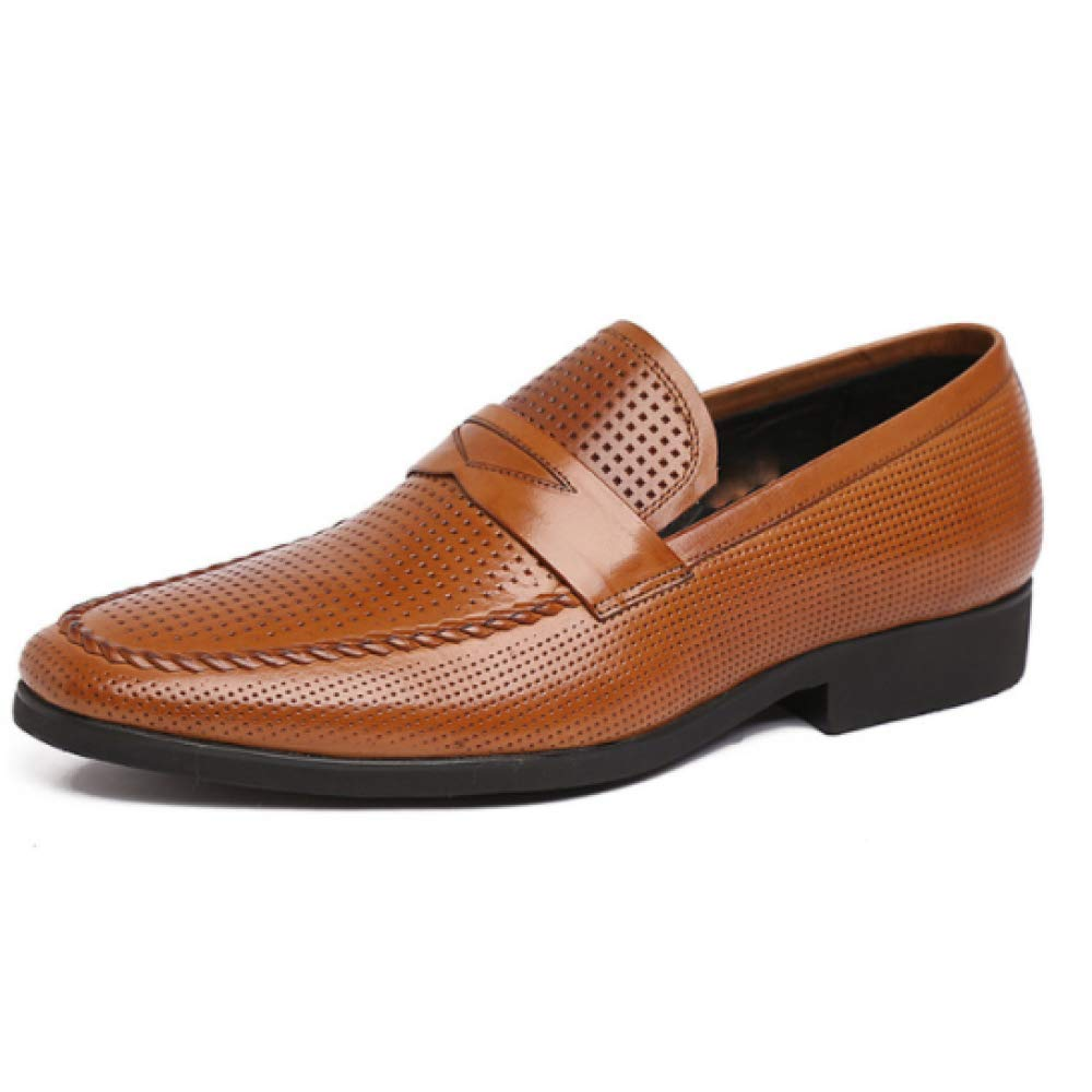 Business Casual Schuhe Halb Herren Leder Flachkopf Füße Halb Schuhe Belüftet Leder Mode Herrenschuhe Yellow 40c248