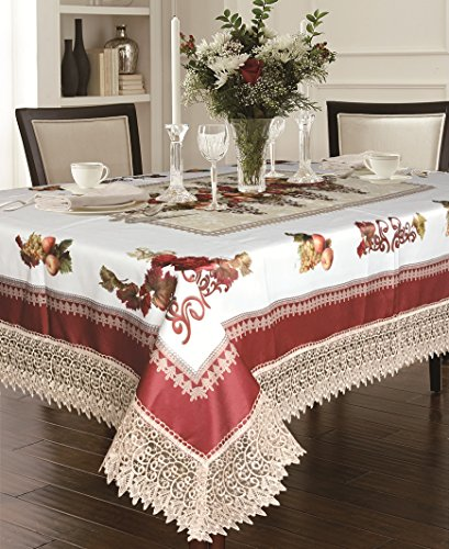 """Violet Linen Decorative Printed Fruttela Tablecloth With Lace Trimming, Burgundy, 52"""" x 70"""""""