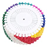 Straight Pin Colorful 1-1/2'' (35mm)long Plastic Metal Dressmaker Sewing FAUX PEARL HEAD ROUND CORSAGE PINS Decorative Wedding Good Textile Hand Needles Crafts Clothes Heavy Duty
