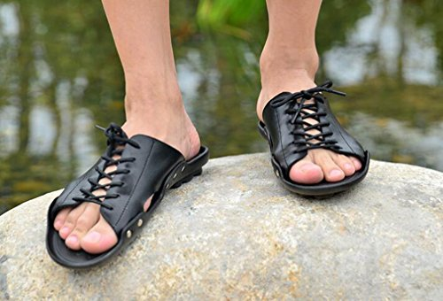 Tie Hombres Home Beach Cuero On Summer for Wrap Aire Libre Negro Holiday de con Shoes Chanclas Tacón para Sandalias Casual Slipper Juleya al Slip Planas Men TqY877