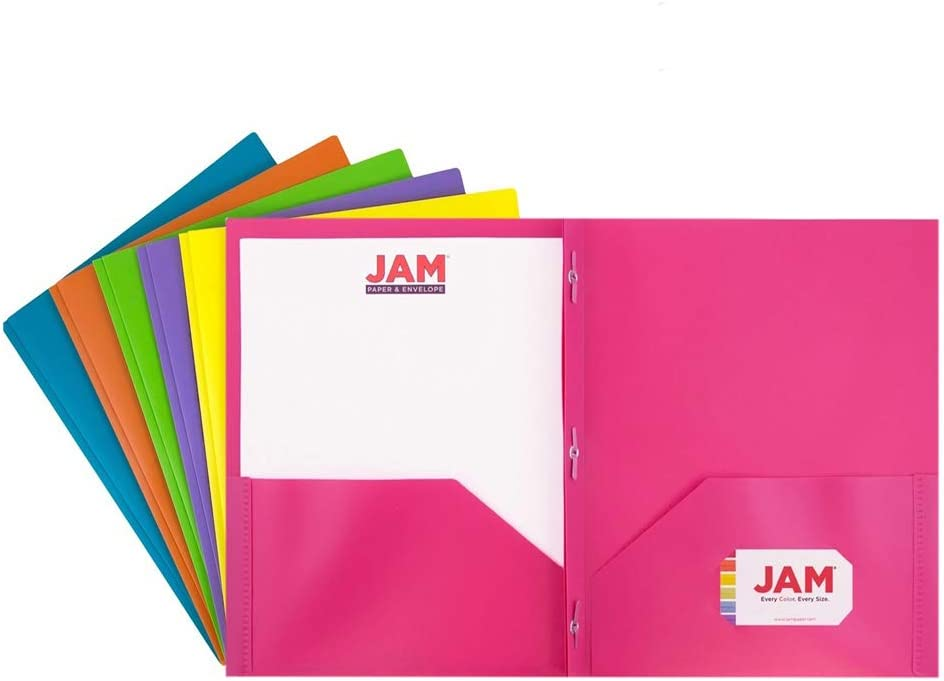 JAM PAPER Heavy Duty Plastic 2 Pocket School POP Folders with Metal Prongs Fastener Clasps - Assorted Premium Fashion Colors - 6/Pack