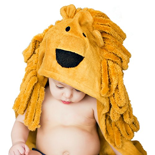Lion Hooded Baby Towel For Toddler, Newborn and Infant | Super Soft Organic Bamboo | Animal Face Design For A Girl or Boy | Great For The Bath, Pool or (Animal Towel)