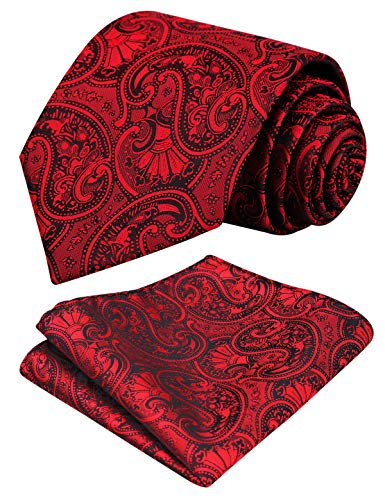 Alizeal Men Paisley Neck Tie Tie Handkerchief Set, Wine Red