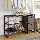 Three Tier Metal Shoe Rack with Two Storage Bins