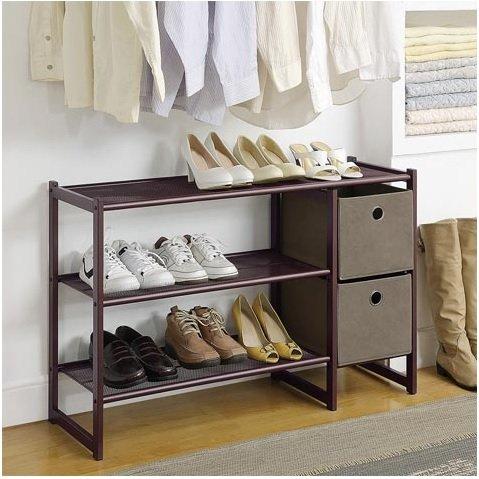 Organize-It-All Three Tier Metal Shoe Rack with Two Storage Bins 707812