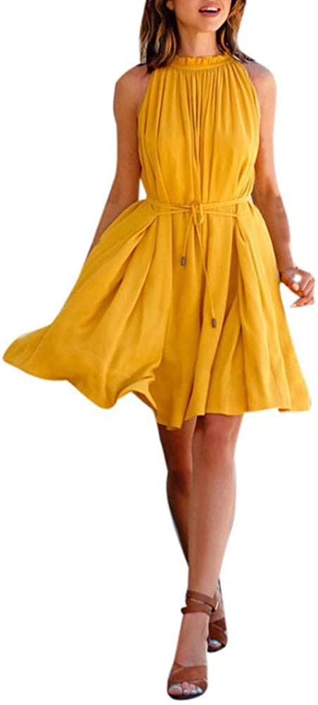 VJGOAL Mujer Verano Moda Casual Amarillo Cuello sin Mangas con ...