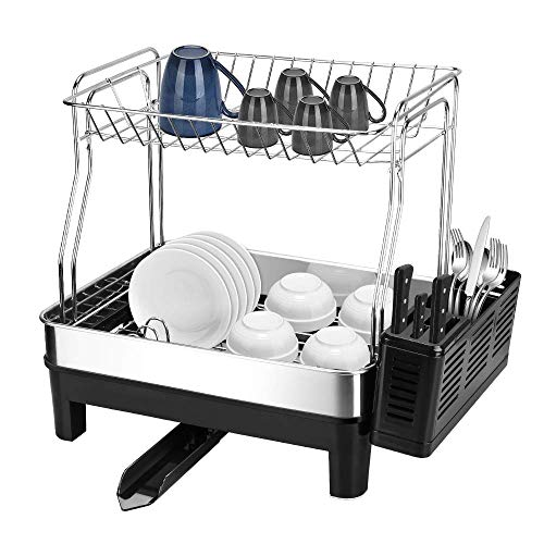 E-Gtong 2-Tier Dish Drying Rack, SUS 304 Stainless Steel Detachable Dish Rack with Removable Utensil Holder, Dish Drainer with 360 Degrees Adjustable Swivel Spout for Kitchen Counter (Two Tier Dish)