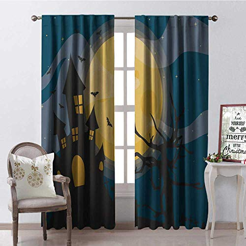 Hengshu Halloween Moon Castle Multicolor Window Curtain Drape Customized Curtains W84 x L96]()