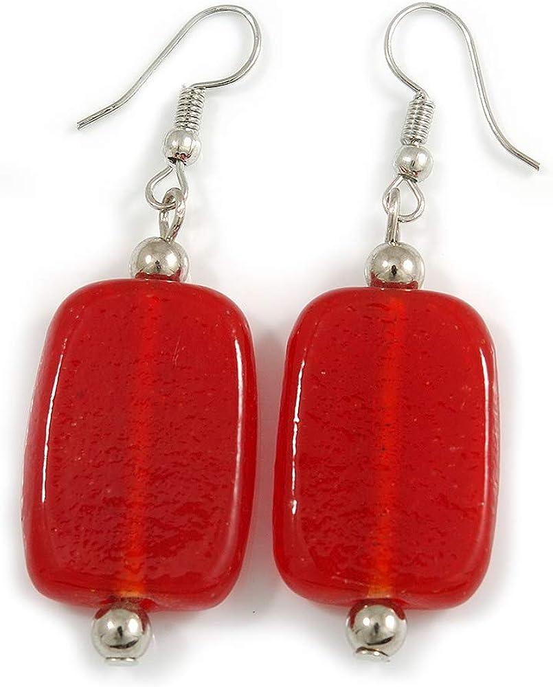 Pendientes cuadrados de cristal rojo en tono plateado – 55 mm de largo