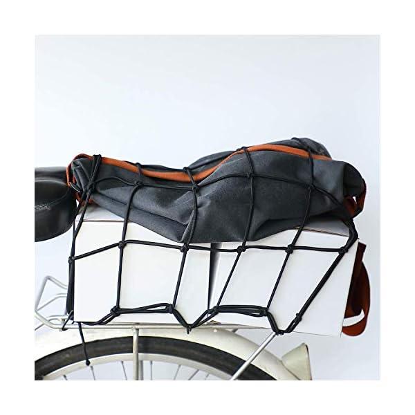 51ANs1N7nLL HUOHUOHUO Gepäcknetz Elastisch,Gepäcknetz Fahrrad,Gepäckspanner mit Haken Fahrrad,Spannseil mit Haken Verstellbar…