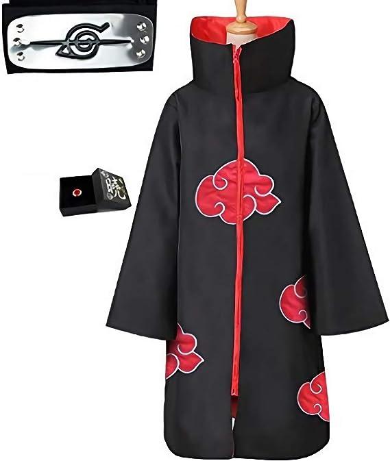 Anime Naruto Akatsuki Uchiha Itachi Shuriken Fronte Accessori per Fascia Costumi Cosplay Accessori LUOWAN Akatsuki Itachi Mantello