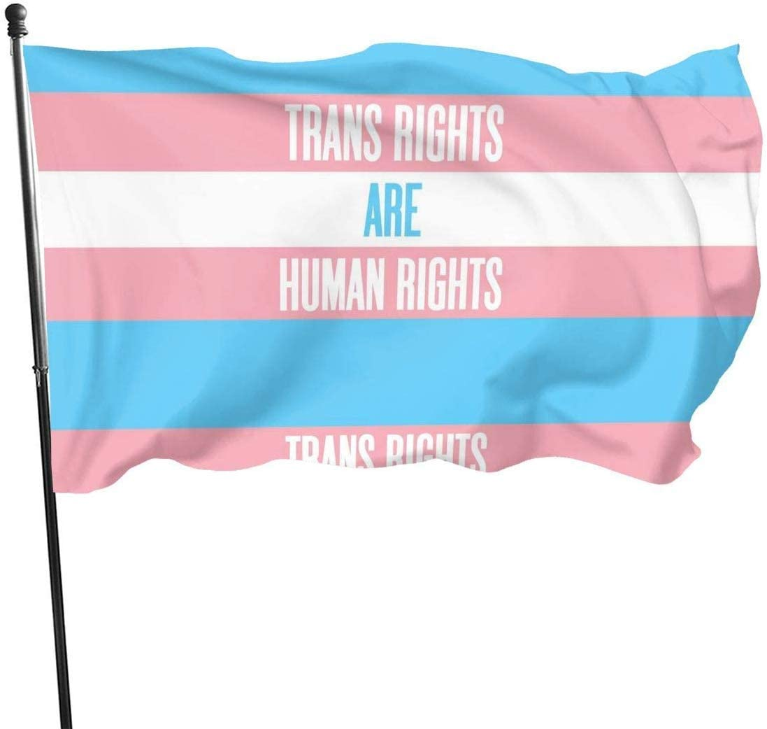 jhin Bandera Decorativa Banderas Transgender Transexual Right Support Trans Pride Flag Themed Welcome Party Outdoor Outside Decorations Ornament Picks Home Garden Decor 3 X 5 Ft