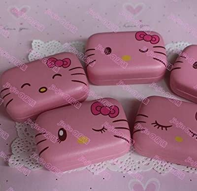 1 Piece Hello Kitty Pattern Contact Lens Case Box Kit Set With Small Mirror Color in Random OFFICE-761