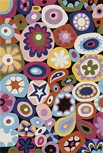 Momeni Rugs LMOTWLMT-5MTI2030 Lil' Mo Hipster Collection, Kids Themed Hand Carved & Tufted Area Rug, 2' x 3', Multicolor