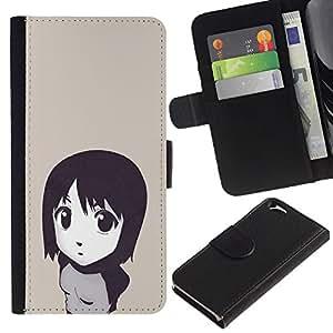 LECELL--Cuero de la tarjeta la carpeta del tirón Smartphone Slots Protección Holder For Apple Iphone 6 -- Muchacha de la historieta japonesa linda --