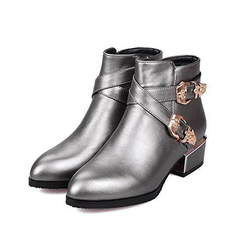 AgooLar Low Solid Heels Zipper top PU Women's Silver Boots Low Uwx4qaUrf