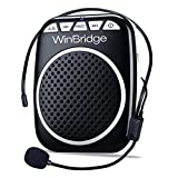 Image of WinBridge WB001 Rechargeable Ultralight Portable Voice Amplifier Waist Support MP3 Format Audio for Tour Guides, Teachers, Coaches, Presentations, Costumes, Etc.-Black