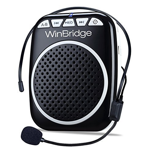 WinBridge WB001 Rechargeable Ultralight Portable Voice Amplifier Waist Support MP3 Format Audio for Tour Guides, Teachers, Coaches, Presentations, Costumes, Etc.-Black (Speaker Personal Audio System)