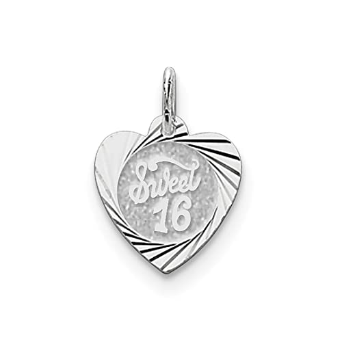794dc8345278 ICE CARATS 925 Sterling Silver Sweet Sixteen Girl 16 Birthday Heart Disc  Pendant Charm Necklace Special ...