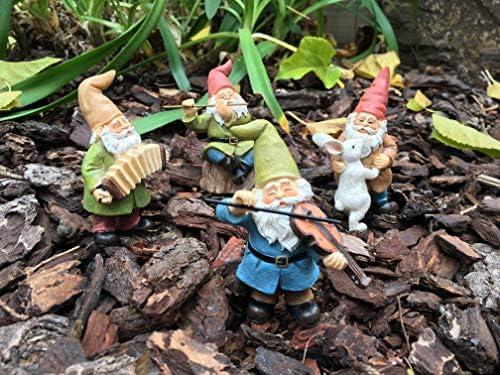 GlitZGlam Happy Miniature Gnomes and Cats Dancing Celebration! 6-Piece Musical Garden Gnome Set for The Miniature Fairy Garden