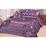 DaDa Bedding Quinceanera 5-Piece Victorian Satin Comforter Set, California King, Purple