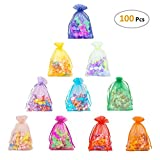Cloudyfocus 5x7 inches Drawstring Organza Bags - 100Pcs Sheer Organza Pouches for Wedding Party Favor, Jewelry, Candy, Tulle Bags