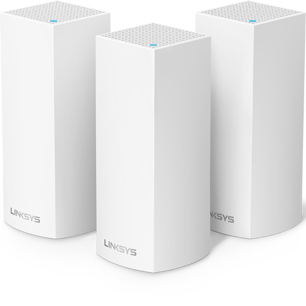 Linksys Velop Tri-Band Home Mesh WiFi System - WiFi Router/WiFi Extender for Whole-Home Mesh Network (3-pack, White) by Linksys