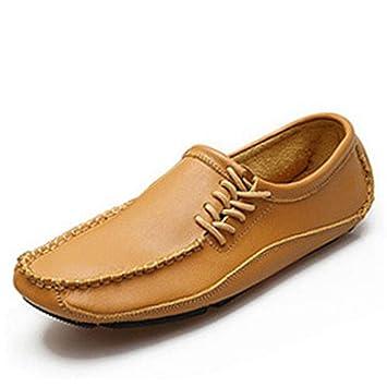 Ywqwdae Zapatillas de Deporte con Cordones para Hombre Mocasines de Cordones con Suela Antideslizante de Cuero con Suela Blanda (Color : Amarillo, ...