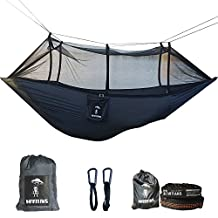 Camping Hammock with Mosquito Net Ultralight Foldable Professional Grade Parachute Nylon Camping Hammock with 28 Loop Tree Friendly Straps Capacity 660LBS for Outdoor Travel Indoor Hiking Backpacking