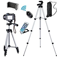 """FOANT Aluminum Professional Lightweight Camera Tripod for iPhone, Cellphone,Gopro Hero,Cameras,Camcorder,,Webcam with Cellphone Holder Clip and Remote Shutter-42""""/Silver"""