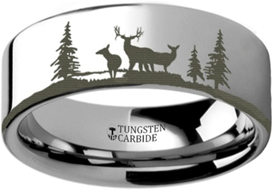 Thorsten Animal Nature Landscape Deer Stag with Two Doe Forest Ring Flat Tungsten Ring 10mm Wide Wedding Band from Roy Rose Jewelry