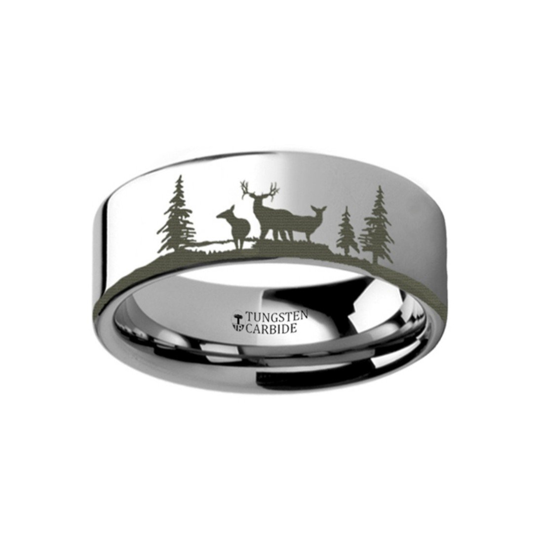 Thorsten Animal Nature Landscape Deer Stag with Two Doe Forest Ring Flat Tungsten Ring 6mm Wide Wedding Band from Roy Rose Jewelry