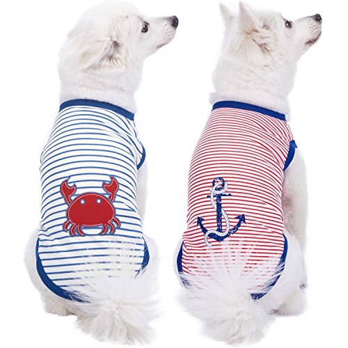 Blueberry Pet Pack of 2 Soft & Comfy Sunshine Sea Lover Cotton Blend Striped Dog T Shirts Tank Top, Back Length 16