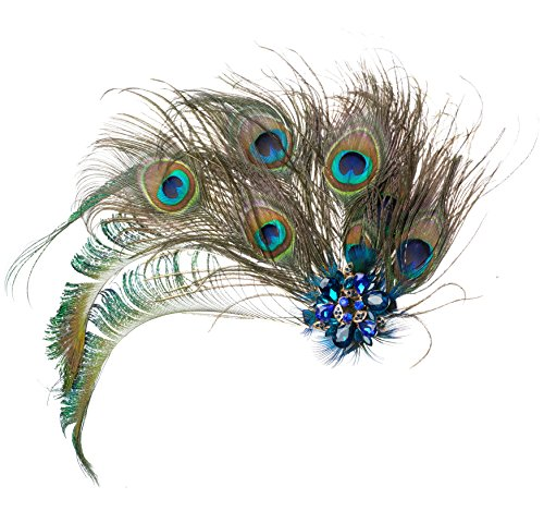 1920s Peacock Costume Hair Clip with Feather Pearl 1920 Flapper Headpiece Hat Accessory