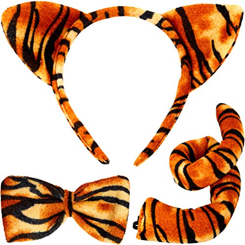 Animal Costume Set Animal Ears Nose Tail and Bow Tie Animal Fancy Dress Costume Kit Accessories for Kids (Tiger Costume)