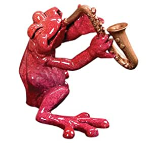 Kitty's Critters 8486 Jake - Sax Frog Playing Saxophone, 4-1/4-Inch Tall, Multi-Colored