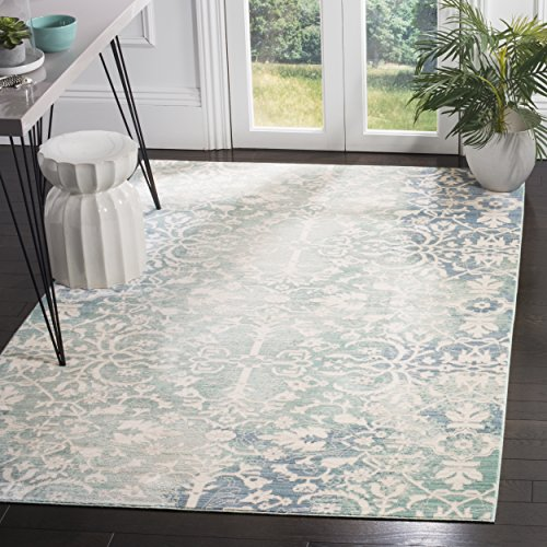 Safavieh Mystique Collection MYS927F Vintage Watercolor Blue and Ivory Distressed Area Rug (5′ x 8′) For Sale