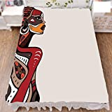 iPrint Bed Skirt Dust Ruffle Bed Wrap 3D Print,Beauty Totem Ethno Fashion Girl with Mask Tattoos,Fashion Personality Customization adds Color to Your Bedroom. by 70.9''x94.5''