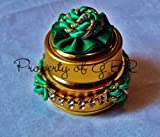 Twisted in gold and green envy worthy empty cosmetic jar- 0.7 OZ