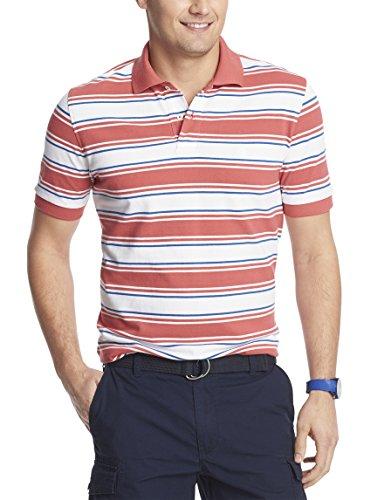Izod Mens' Multicolor Bar Stripe Pique Polo Shirt (X-Large, Cranberry)