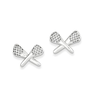925 Sterling Silver Post Polished Lacrosse Earrings