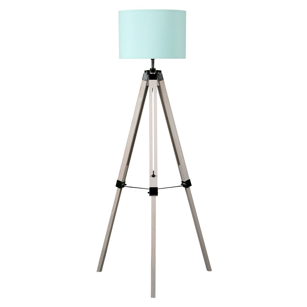 Modern Light Wooden and Chrome Tripod Floor Lamp with a Duck Egg Blue Cylinder Light Shade