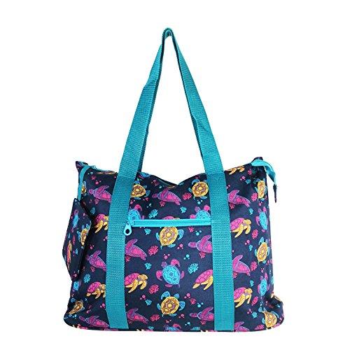 Allgala 19'' Shopping Travel Tote Bag (N Turtle Blue) by allgala